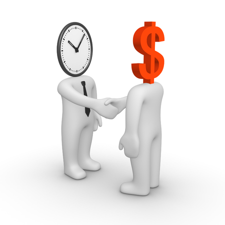 career fair: Handshake between two people with watch and dollar sign instead their heads. 3d render. Stock Photo