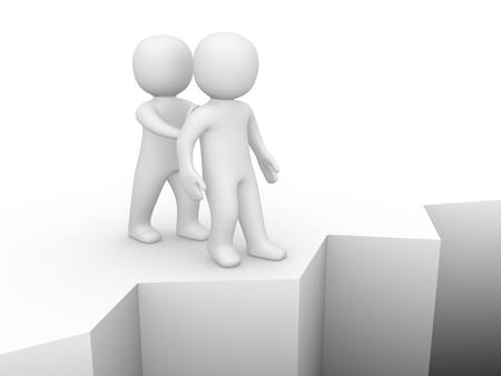 foe: 3d man pushing another person to precipice. 3d render.