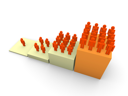 Graph with rising number of people. 3d render.