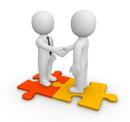 Handshake between two businessmen on puzzle pieces. 3d render. Stock Photo