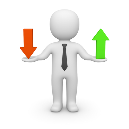 3d man holding two arrows with opposite directions. 3d render. Stock Photo