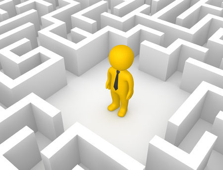 3d man in the labyrinth. 3d render.