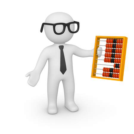 study: 3d man with the abacus. 3d render.