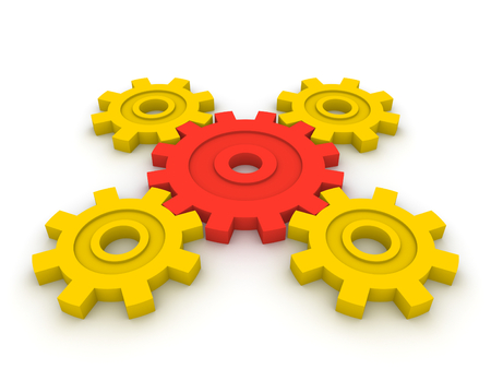 Gears with central element. 3d render.
