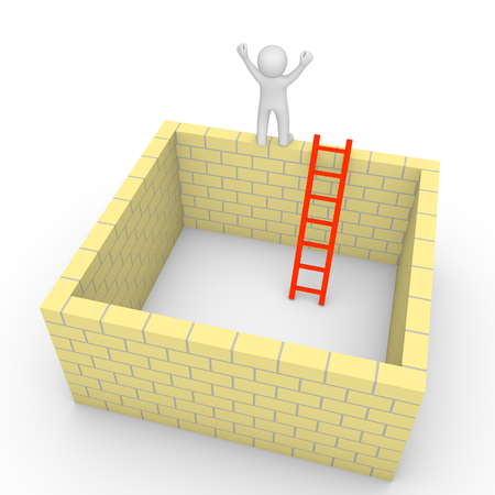 problem: 3d man climbed on the brick wall of isolated room. 3d render. Stock Photo