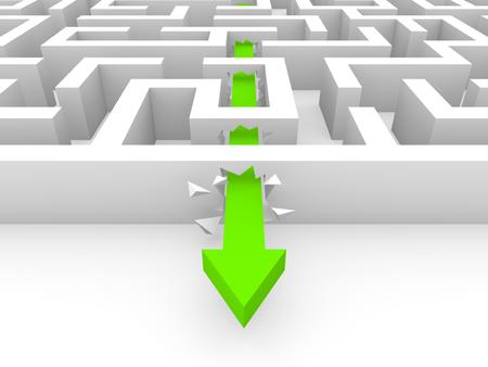 Green arrow breaking a way through labyrinth walls. 3d rendering.