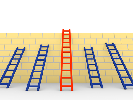 expertise: Several ladders with different length leaning the brick wall. 3d rendering.