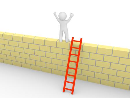 problem: 3d man climbed on the brick wall. 3d render.
