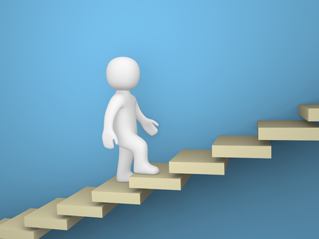 3d man climbs the stairs up. 3d render. Archivio Fotografico
