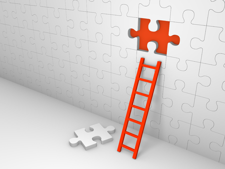 Wall of jigsaw puzzle with missing piece. 3d render. Stock Photo