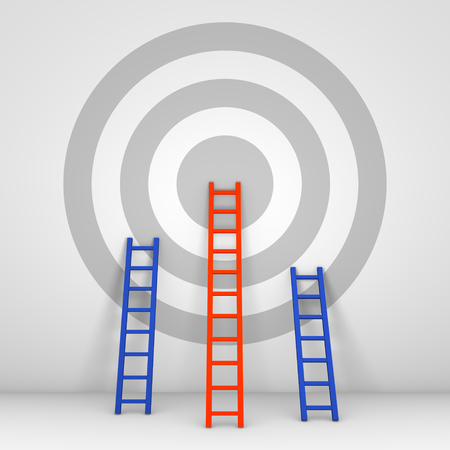 Several ladders leaning against the wall with target. 3d render. Stock Photo