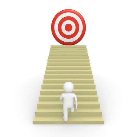 3d man climbs the stairs to the target. 3d render.