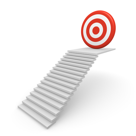 skill: Stairway with target on the top. 3d render.