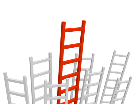 Bunch of grey ladders with longest red ladder in the centre. 3d rendering. Archivio Fotografico