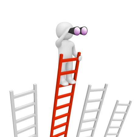 3d man standing on the top of longest ladder and looking through binoculars. 3d render.