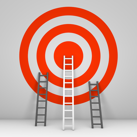 Several ladders leaning against the wall with target. 3d render. Archivio Fotografico