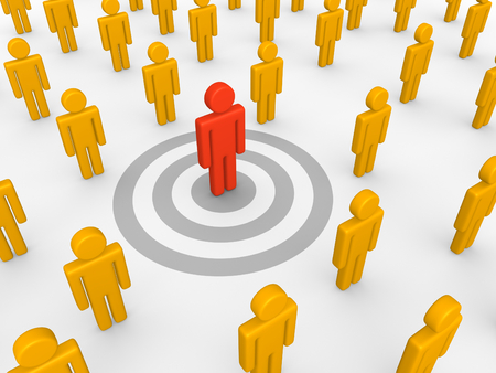 Red 3d human standing on the target and other people around. 3d render. Stock Photo