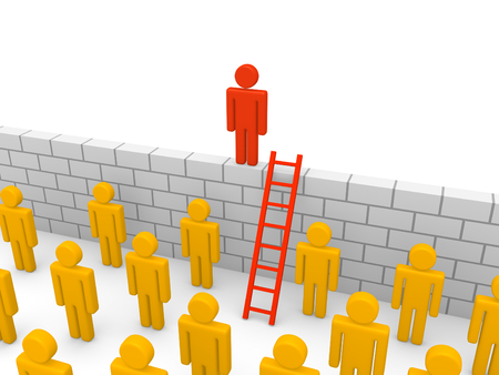 Crowd 3d people and wall with ladder. 3d render. Stock Photo