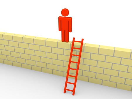 barrier free: 3d man climbed on the brick wall. 3d render.