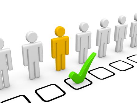 적절한 후보자를 선택하십시오. 3d 렌더링입니다. 스톡 콘텐츠