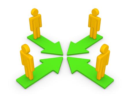 Concept of partnership. 3d render. 스톡 콘텐츠