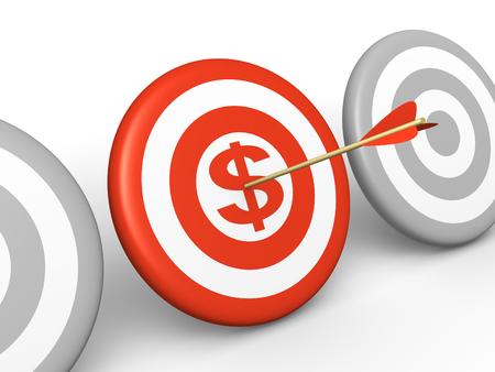Arrow hitting the dollar sign on center of target. 3d rendered illustration.