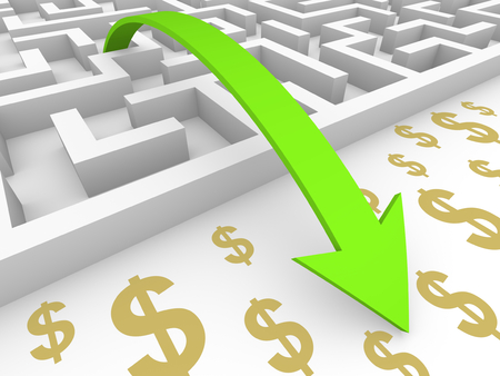 Green arrow goes over labyrinth to dollar signs. 3d render. Stock Photo