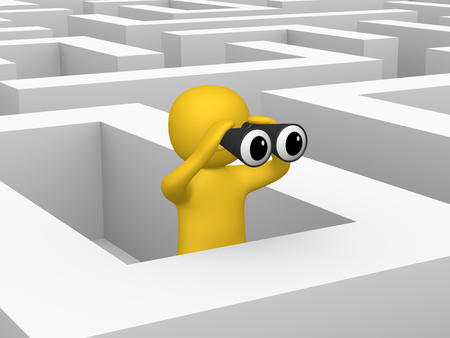 3d man with binoculars inside labyrinth. 3d render.