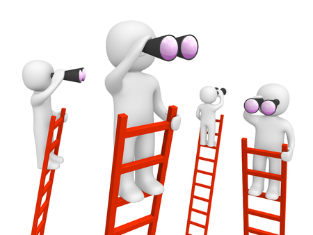 3d people standing on the ladders and looking through binoculars. 3d render. 스톡 콘텐츠