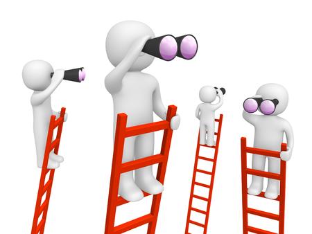 Leute 3d, die auf den Leitern stehen und durch Ferngläser schauen. 3d übertragen. Standard-Bild - 88363467