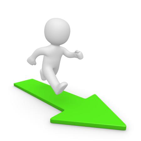 3d man running on green arrow. 3d render. Stock Photo