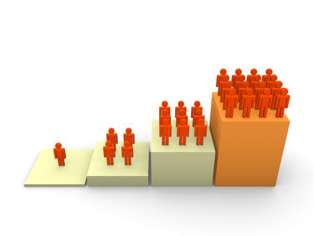 人々 の上昇数とグラフします。3 d のレンダリング。