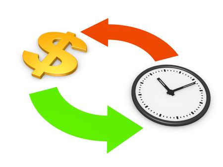 Time is money concept. 3d render.