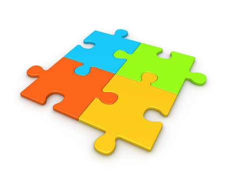 Four puzzle pieces joined together. 3d render. Stock Photo