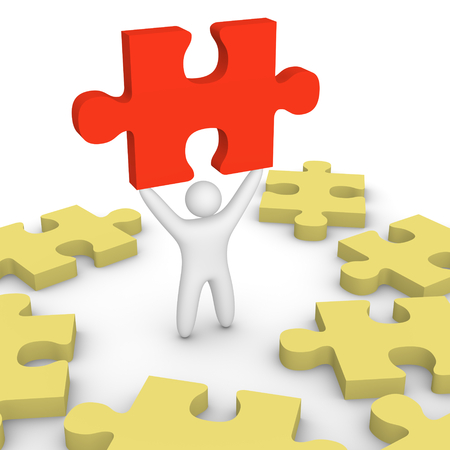 3d man standing with red puzzle piece among yellow pieces. 3d render.