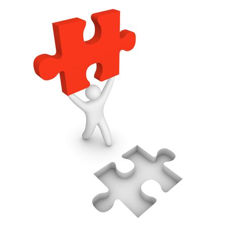 3d man go with puzzle piece. 3d render. Stock Photo