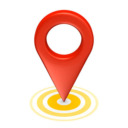 Red map pointer with yellow circles isolated on white. 3d render. Stock Photo