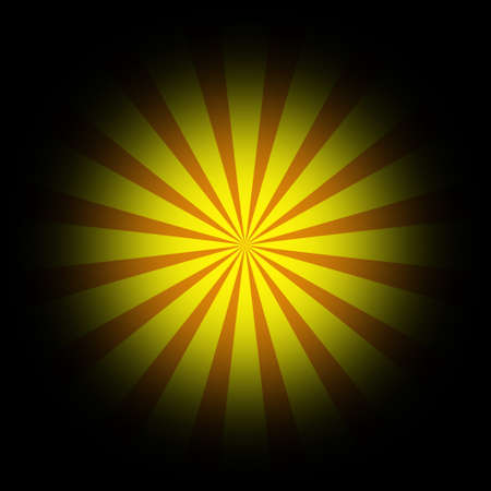 Cartoon style yellow-red rays in black