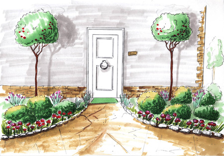 Figure. Landscape design project. Landscape architecture plan in the courtyard for Villa. view of the path plan watercolor markers. playground. front door. watercolor. corner marker. facade of the house markers. frontal view watercolor. front view completed. Stock Photo