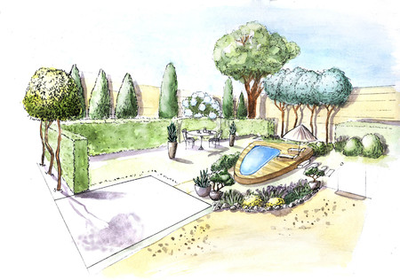Figure. Landscape design project. Landscape architecture plan in the courtyard for Villa. view of the path plan watercolor markers. playground. front door. watercolor. corner marker. facade of the house markers. frontal view watercolor. front view completed.