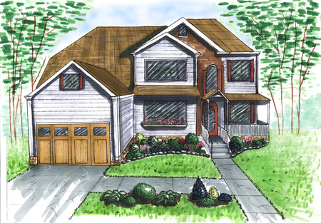 Figure. Landscape design project. Landscape architecture plan in the courtyard for Villa. view of the path plan watercolor markers. playground. front door. watercolor. corner marker. facade of the house markers. frontal view watercolor. front view completed. 写真素材