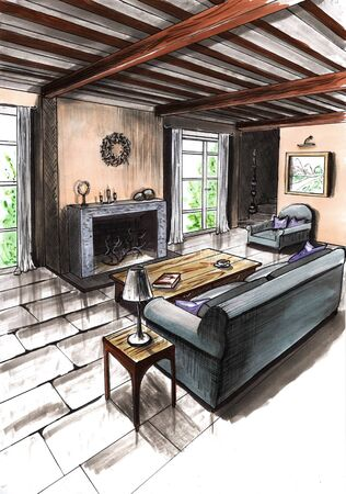 Interior of the room in a country house, in a cottage, in a villa, in a barn. Picture of a beautiful cozy room for an interior design project. Imagens