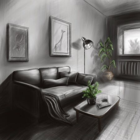 The interior of a cozy bedroom. Romance, beautiful views, excellent linens. The pleasure of privacy.  illustration 3d