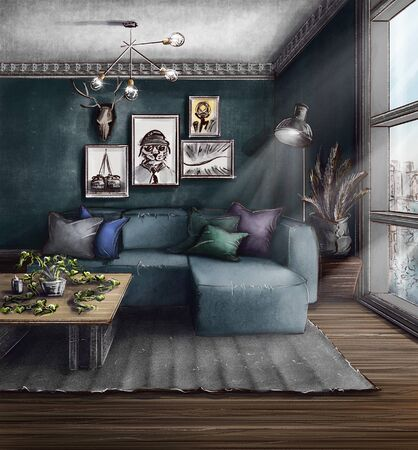 Visualization, drawing, picture, sketch, illustration 3d. The interior of a cozy bedroom. Romance, beautiful views, excellent linens. The pleasure of privacy, the window has a lot of light. Zdjęcie Seryjne