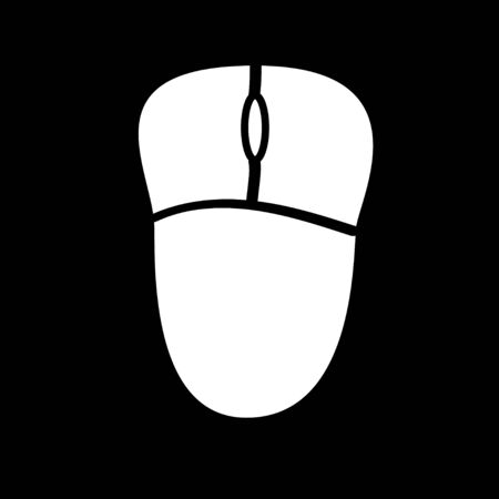 white Computer mouse icon on black background