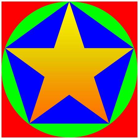 Color Star, pentagon, circle, square Stock Illustratie
