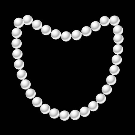 White pearl necklace on the black background