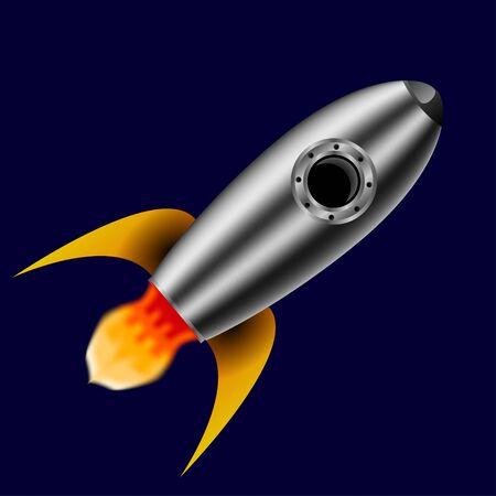 Simple retro spaceship icon. rocket Illustration