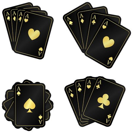 4 golden black ace. Set cards