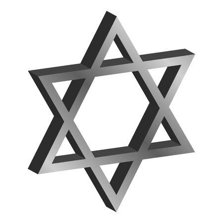 estrella de seis puntas de metal tridimensional David